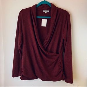 NWT Pleione draped front sweater blouse